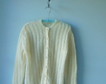 Vintage 60s wool Mohair Hand Knit Sweater
