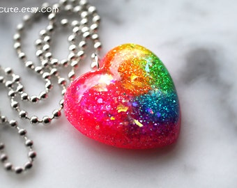 Heart Necklace, Resin Jewelry, Heart Pendant, Somewhere Over the Rainbow, Glitter Heart Resin Necklace ...handmade by isewcute