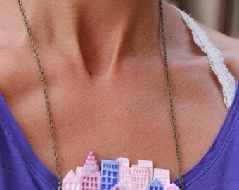 New York Necklace, Sky Scrapers in Pink, Rose and Blue - Skyline Collection - OOAK