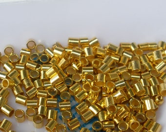 Gold Plated Crimp Bead Beadalon Tube 2 mm 100 pc 2mm Crimps #3 Size