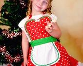 Christmas apron for girls  Childrens RETRO red POLKA DOT full apron  for kids gift