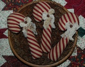 Beautiful Burgundy and Tan Candy Cane Tucks Christmas Ornies Primitive Bowl Fillers SET OF THREE