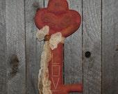 EPATTERN -- Primitive Valentine Skeleton Key LOVE Wall Hanging