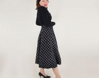 "50s Black Wool Felt with White Angora Circle Skirt 23"" waist"
