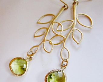 Gold Leaf Earrings, Moss Green Glass Drop, Jewelry Set, Long Earrings, Bridesmaid Earrings, Wedding Jewelry.