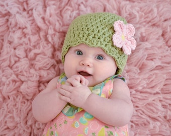 9 Sizes Country Green Girl Hat Baby Hat Baby Girl Hat Toddler Hat Toddler Girl Hat Womens Hat Crochet Flower Hat 30 Flower Colors Photo Prop
