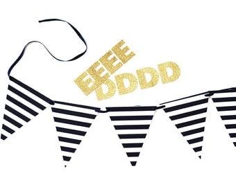 Banner - Black & White Stripe. Custom. Party. Decor