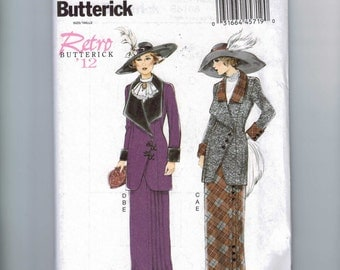 Misses Sewing Pattern Butterick B6108 6108 Costume Edwardian Titanic Downton Abbey Suit jacket Skirt 1912 Size 6-14 14-22 Multisize UNCUT