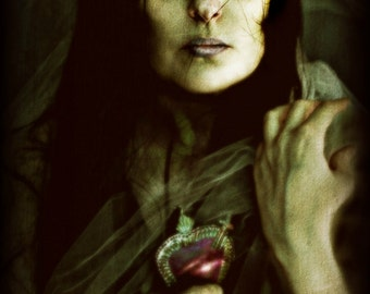 Heart, Photographic Portrait of a Woman, Dark Gothic with Intense Eyes and Heart Milagro, Merle Pace