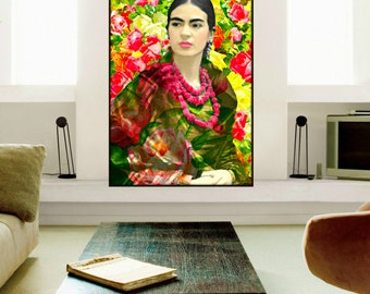 Frida Kahlo Poster Watercolor Style Art Print Instant Digital Download Boho Rose Vintage Photomontage Home Decor Red Pink Yellow Black Green