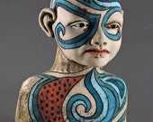 Dreaming of the gentle  rhythm  of the Turquoise waves and the sea  Ceramic Fiqurative sculpture
