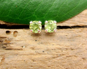 Peridot Earrings in Gold, Silver, Platinum, or Palladium with Genuine Gems, 3mm - Free Gift Wrapping