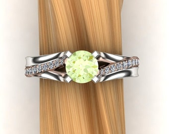 Green Garnet Ring with Diamond Accents, 14k White Gold and 14K Rose Gold Mixed Metals - Mint Grossular Garnet
