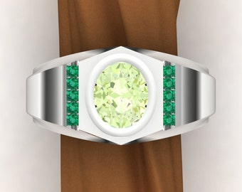 Green Garnet Ring with Emerald Accents, Dramatic Bold Heavy Ring with an Oval Mint Grossular Garnet