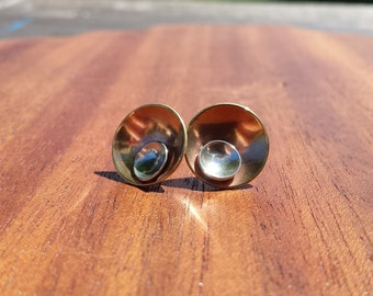 Bronze, Sterling, Simple, Subtle, Unique, Everyday, Classic, Big, Stud, Earrings, Moon at Dawn