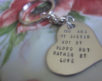 You are my Sister stainless steel heart charm, keychain, necklace, rear view mirror charm. For best friends that feel like sisters