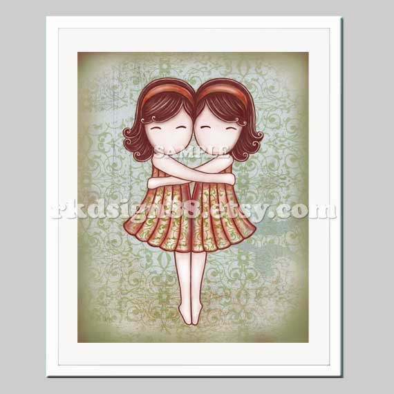 Twin girls children's wall art print nursery art print girl nursery decor bridesmaid gift Gemini My Lovely Best Friend