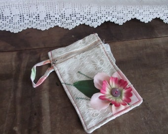 OOAK Small Purse or I pod case in recycled fabrics. Upcycled Flora in Pinks