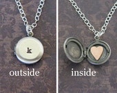 mini monogram locket necklace with heart inside