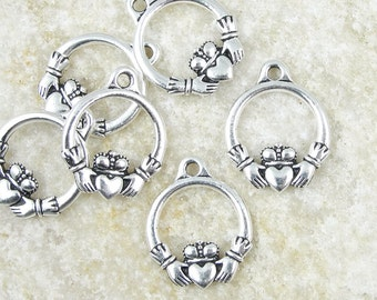 Antique Silver Charms Silver Celtic Charms Claddagh Charms TierraCast Heart and Hands Valentine's Day Celtic Jewelry Yoga Charms (P2006)
