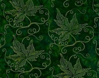 Leaf Batik Green Herbal Garden Mirah Fabric 1 yard