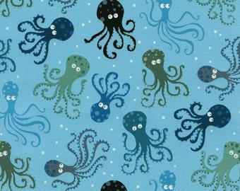 Octopus Blue Surf Timeless Treasures Fabric 1 yard