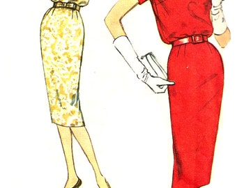 1950s Dress Pattern Vintage Sewing Simplicity Bloused Bodice Wiggle Skirt Women's Misses Junior Size 11 Bust 31 . 5 Inches