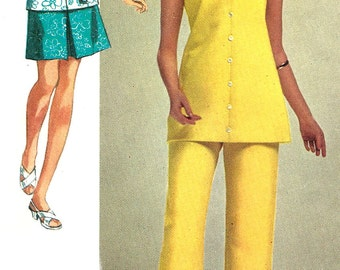 1970s Tunic Pattern Skirt Pants Top Simplicity Super Jiffy Vintage Sewing Uncut Women's Misses Size 16 Bust 38 Inches