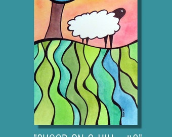 """Sheep On A Hill 2 Watercolor and Ink Landscape Painting Drawing  5"""" x 7""""  Wall Art"""
