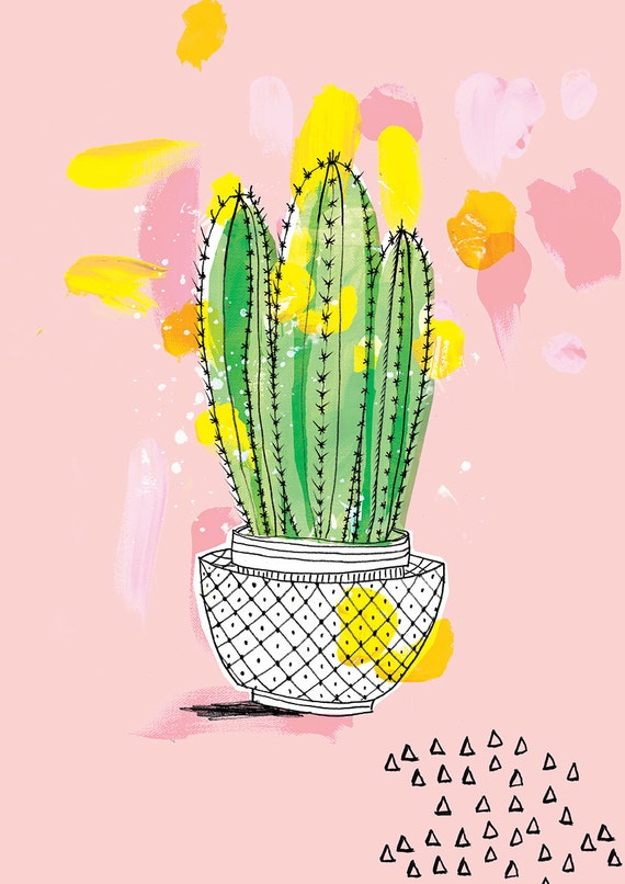 Favourite Cactus Archival Wall Art Print plant illustration pink green