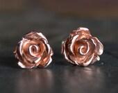 Rose Earrings, Rose Studs, Copper Stud Earrings, Botanical Earrings, Rose Post Earrings, Copper Earrings, Metal Earrings, Earthy Earrings