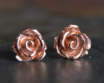 Rose Earrings, Rose Studs, Copper Stud Earrings, Botanical Earrings, Rose Post Earrings, Copper Earrings, Metal Earrings, Earthy Earrings