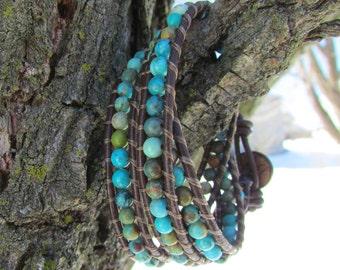 Elements 'Triple Wrap Genuine Turquoise Bracelet'