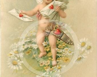 Angel or Cupid Valentine Red Heart Letters Victorian Post Card Ephemera Postcard  Vintage Scrapbooking Instant Digital Download