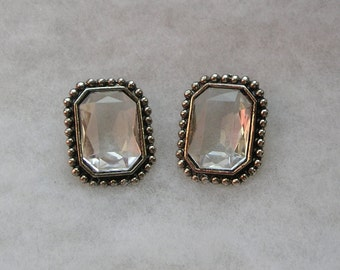 Retro Large Faceted Clear Lucite Earrings
