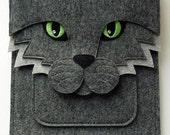 Cat MacBook Air 11 inch case // Laptop felt bag // MacBook Air sleeve