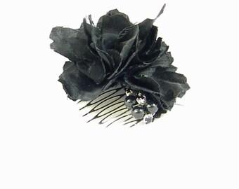 Black Silk Flower, Fascinator,100% Silk Handmade flower, Grey Pearl Black rhinestone brooch, Unique Recycled Hair Comb