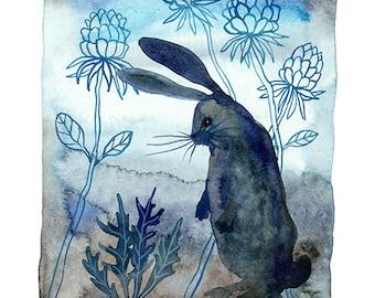 LARGE Midnight in the Garden, Bunny Print, rabbit print, wild hare illustration, critter art, giclee art print, woodland, nursery art, water