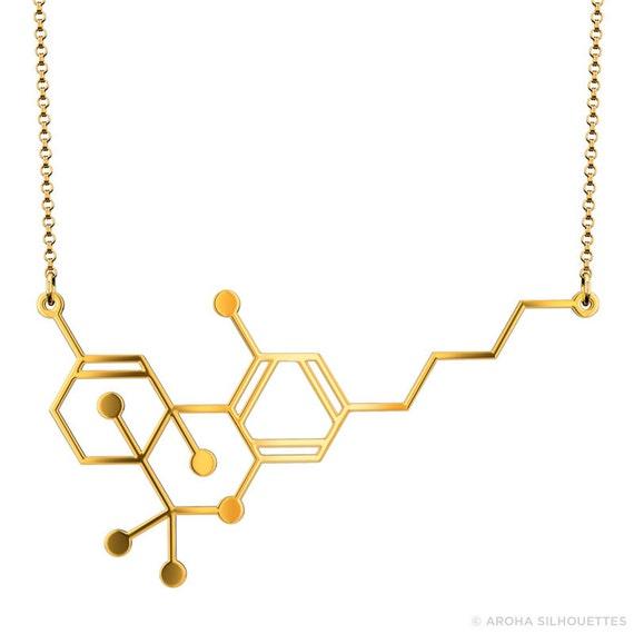 thc molecule necklace gold