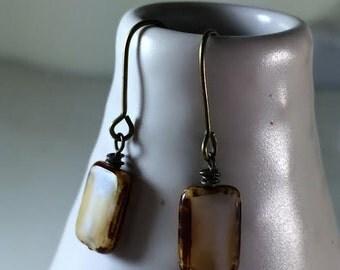 White antique czech glass dangle earrings,cheap and sweet,dainty & feminine earrings,white czech glass jewelry, sara nolte design