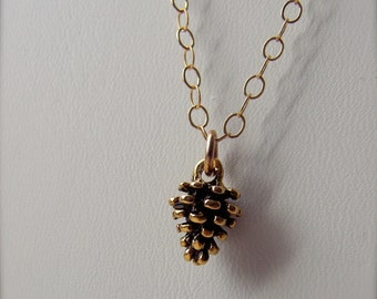 """Gold Pine Cone Necklace - 18"""" Oval Gold-fill Chain"""