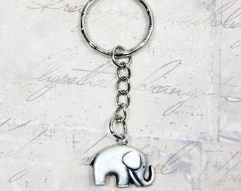 Silver Elephant Keychain