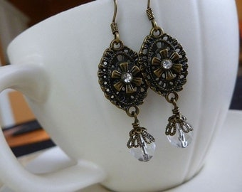 Victorian Charm Earrings - Antiqued Brass and Sparkling Czech Glass Earrings