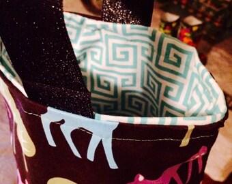 Retro DEER Mini Tote Bag with Teal Geometric Lined Bag Purse Woodland