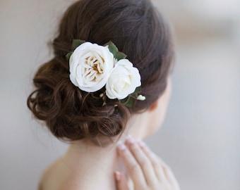 cream flower hair clip, bridal hairpiece, bridal flower for hair, ivory flower, bridal headpiece, bridal hair accessories, floral hairpiece