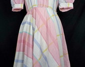 Vintage Mixed Pattern Pastel Dress 9 S 1980s