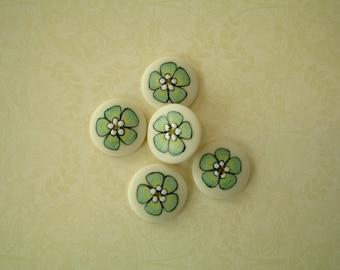 Green Floral set of 5