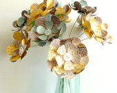 Paper Flower Bouquet - Earthy Yellow Blue Brown Neutral 15 stems 12""