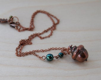 Small Copper Acorn Necklace | Electroformed REAL Acorn Pendant | Forest Copper Charm Necklace