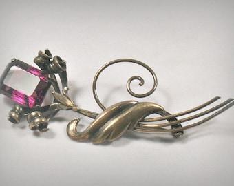 Art Nouveau Gold Filled Amethyst Glass Flower Brooch Pin